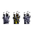 halloween silhouettes of watercolor castles vector image vector image