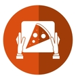 hand delivery box pizza shadow vector image vector image