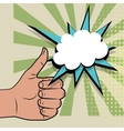 Hand sign thumbs up pop art color back vector image