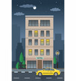 hotel building and taxi service nighttime vector image