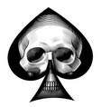 human skull full face in ace spades frame