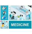isometric medical treatment composition vector image vector image