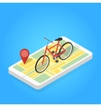 Isometric of phone map bicycle vector image vector image