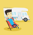 man sitting in chair in front of camper van vector image vector image