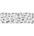 meat sausages fish doodle set vector image vector image