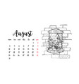 monthly desk calendar template for month august vector image
