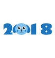 new year 2018 figures with cute puppy dog vector image vector image