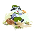 Raccoon scout collects mushrooms Mushroomer vector image vector image