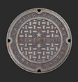 rusty iron alphabet font realistic manhole cover vector image vector image