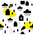 seamless pattern with black houses on the white vector image vector image