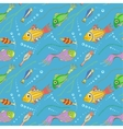 seamless pattern with fishes seaweeds and bubbles vector image