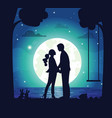 secret date couple man and woman at night vector image vector image