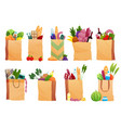 set paper bag with fresh food vector image