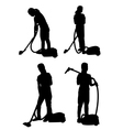 silhouette of a girl with vacuum cleaner vector image vector image