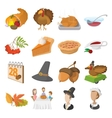 Thanksgiving day cartoon icons vector image vector image