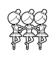 three girls dancing ballet classic practice vector image