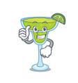 thumbs up margarita character cartoon style vector image vector image