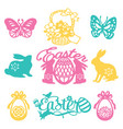 vintage paper cut silhouette easter filligree set vector image vector image