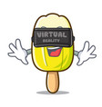 virtual reality lemon ice cream mascot cartoon vector image