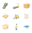 Warehouse icons set cartoon style vector image vector image