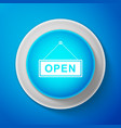 white hanging sign with text open door icon vector image vector image