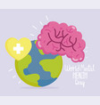 world mental health day human brain planet heart vector image vector image