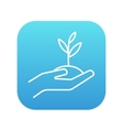 Hands holding seedling in soil line icon vector image