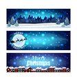 Christmas banners with night winter sky vector image