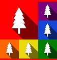 new year tree sign set of icons with flat vector image