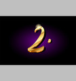 2 two number numeral digit golden 3d logo icon