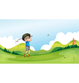 a boy playing golf at field vector image
