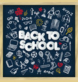 back to school chalkboard doodle set freehand vector image vector image