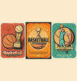 basketball sport ball basket player trophy cup vector image vector image