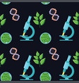 biology themed seamless pattern with microscopes vector image vector image