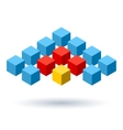 Blue cubes wings logo with red segments vector image vector image