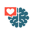 brain with heart in chat bubble colored icon vector image