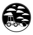 bulldozer in circular frame with cloud landscape vector image vector image