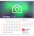 calendar for october 2018 week starts on sunday vector image vector image
