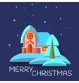 Christmas with cute house in flat style vector image vector image
