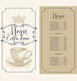 coffee house menu with cup crown and price list vector image