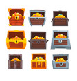 collection of wooden chests with treasures chest vector image vector image