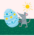 cute rat decorating easter egg vector image vector image