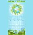 ecology calendar template with green earth globe vector image