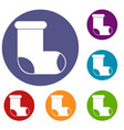 felt boot icons set vector image vector image