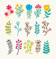 floral elements in doodle style vector image vector image