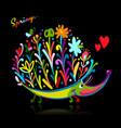 floral hedgehog logo set for your design vector image vector image
