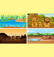 four background scenes with tree vector image vector image