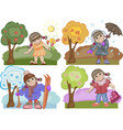 Girl Enjoying All the Seasons Set vector image
