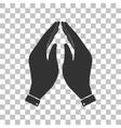 Hand icon Prayer symbol Dark gray vector image vector image