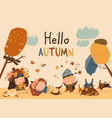 happy kids playing with autumn leaves hello vector image vector image